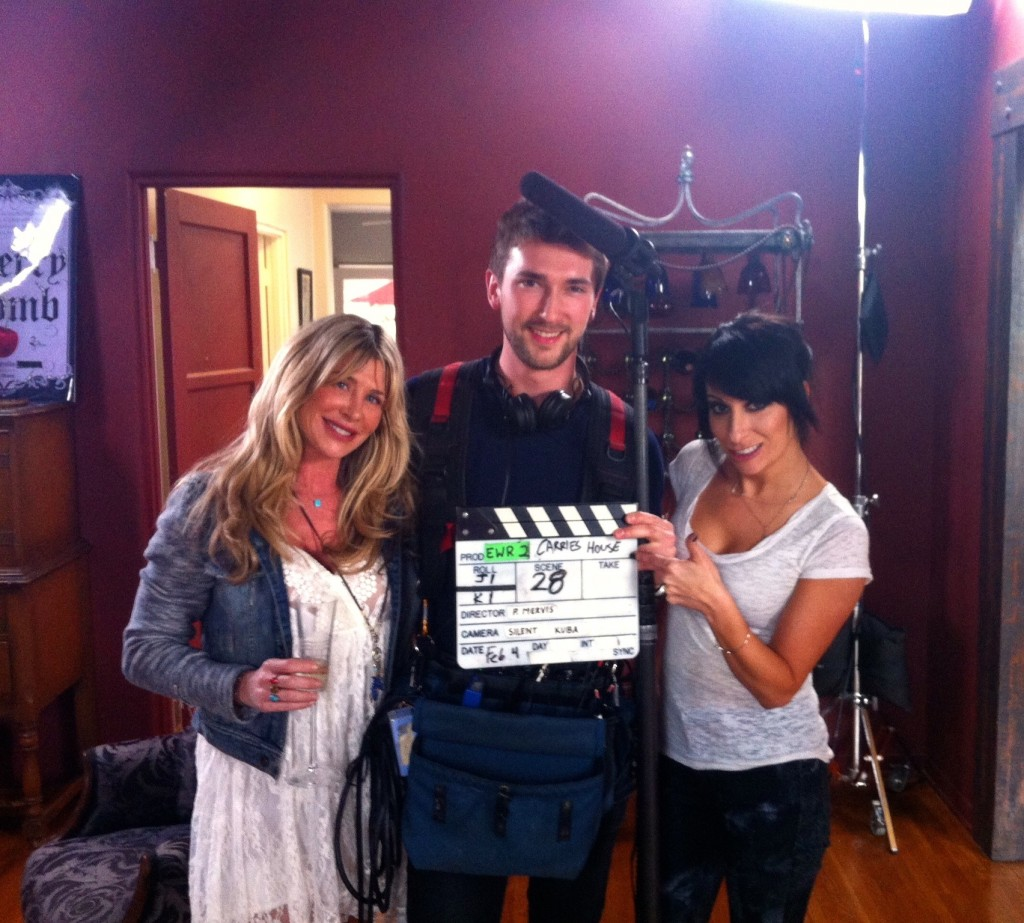 "Blue Dixon and Carrie Borzillo filming ""Ex-Wives of Rock,"" 2015"